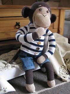 PAvla STUdihradová: Háčkovaná opice Monkey, Crochet Patterns, Teddy Bear, Wool, Knitting, Animals, Image Search, Ideas, Amigurumi Doll