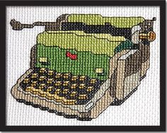 Make a cross stitch olive green Vintage Typewriter on 14-count Aida cloth. This pattern arrives as an Instant Download! A few minutes after your payment is processed, you'll receive a separate email w
