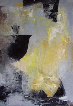"""Abstract painting,  yellow, grey, black, white, """"Steam and Simmer"""", small original oil,11.6 x 8.3"""