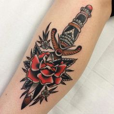45 Best Ideas For Tattoo Rose Leg American Traditional Forearm Tattoos, Sleeve Tattoos, Chris Collins, Traditional Dagger Tattoo, Rose And Dagger, Henna, Sword Tattoo, Plant Tattoo, Tattoo Project