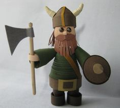 Miniature Viking in dimensional quilling