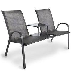VonHaus Garden Loveseat with Adjoining Table - Outdoor Textoline Grey Companion Seat