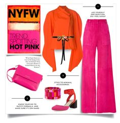 """Win It! NYFW Trend Spotting: Hot Pink"" by affton ❤ liked on Polyvore featuring Carolina Herrera, A.W.A.K.E., Loeffler Randall and Versace"