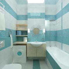Blue White Aqua Bathroom Tiles and Accessories Decorating Ideas Royal Bathroom, Teal Bathroom Decor, Small Bathroom, Bathroom Ideas, Blue Rooms, Blue Walls, Aqua Paint Colors, Farmhouse Design, Tiles