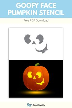 Pumpkin Face Carving, Pumpkin Faces, Printable Pumpkin Stencils, Free Stencils, Goofy Face, Halloween Stencils, Pumpkin Decorating, Garden Pots, Pumpkins