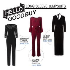 """""""Hello Good Buy: Long Sleeve Jumpsuits"""" by polyvore-editorial ❤ liked on Polyvore featuring L'Autre Chose, Ghost, Damsel in a Dress and HelloGoodBuy"""