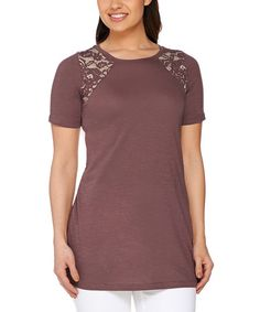 Maple Lace-Accent Top - Plus Too #zulily #zulilyfinds