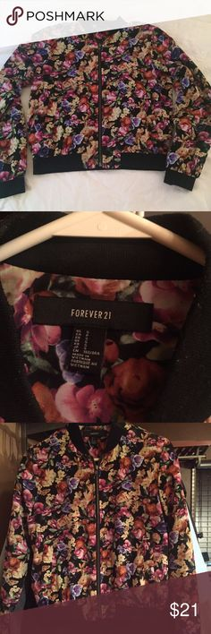 F21 Floral Bomber Forever 21 floral bomber jacket. Size small Forever 21 Jackets & Coats