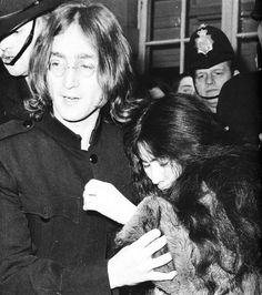 John Lennon and Yoko Ono being arrested (a beatle fan pulled Yoko's hair)