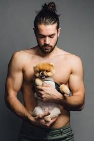 guys with pet... and his bun! ouch! #men #bun #puppy