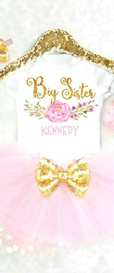 Adorable Big Sister Outfit is the perfect gift for any girl being promoted to big sis! Personalized Big Sister Shirt is the ultimate way to announce the big news! Big Sister Outfits, Cute Baby Girl Outfits, Newborn Girl Outfits, Baby Girl Gifts, Baby Girl Fashion, Toddler Fashion, Kids Fashion, First Birthday Outfits, Birthday Gifts For Girls