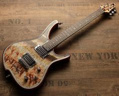"""Gorgonized Nemesis with real Onyx Fantastico """"Red Light"""" top. Find more at www.zerberus-guitars.de"""