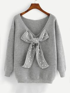 SHEIN Grey Preppy Elegant Plus Size Dropped Shoulder Bow Detail Solid Pullovers Sweater Autumn Casual Workwear Women Jumpers Price: Plus Size Pullover, Pull Long, Plus Size Sweaters, Jumpers For Women, Grey Jumpers, Casual Fall, Kind Mode, Sweater Weather, Pulls