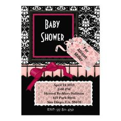 Damask Elegant Pink Black Baby Shower Invitation