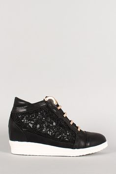 Lace Metal Accents Wedge Sneaker