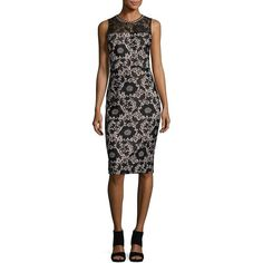 Jessica Simpson Embellished Lace Sheath Dress ($89) ❤ liked on Polyvore featuring dresses, floral print dress, floral day dress, floral dresses, lace keyhole dress and shimmer dresses