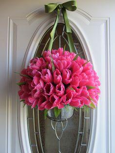beautiful pink tulip wreath