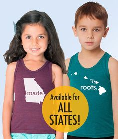 All States 'Roots'  or 'Made' Tri Blend by SevenMilesPerSecond, $20.00