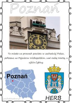 POLSKIE MIASTA – plansze zestaw 1 – Przedszkolankowo Herb, Activities For Kids, Education, Geography, Historia, Polish, Studying, Grass, Fried Cabbage