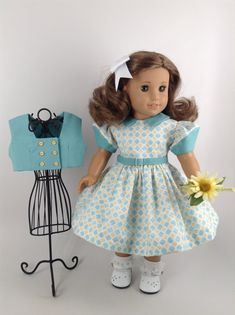 """Blue Polka Dot Strappy Corded Sandals Fits American Girl /& Other 18/"""" Dolls"""