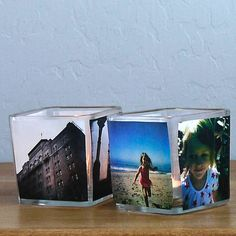 Candle Picture Votives...showcase your favorite pictures with these chic photo votives that look picture perfect when glowing.