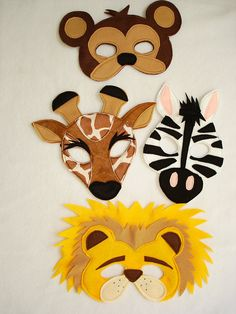 Children's Safari Animals Felt Mini Combo of 4 Masks