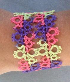 Handmade shuttle tatted lace bracelet in purple pink by Shannhob