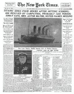 The Sinking of TITANIC New York Times - Titanic Sinks. I am fascinated with the history of the Titanic! 5th Grade Social Studies, Teaching Social Studies, Teaching History, Teaching Tools, Teaching Resources, History Classroom, History Education, Study History, World History