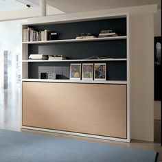 The Poppi Book is a horizontally opening murphy bed available as a twin (90) or an intermediate size wall bed (120). Optional fold down desk is available.