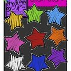 """This set has 9 vibrant stars- perfect to go with the """"chalkboard look"""" that is all the craze! Each star has a dark gray background beneath the colo..."""