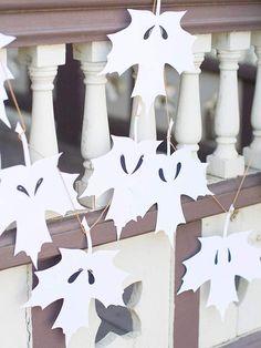 paper leaf ghost garland  Halloween  fall