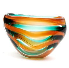 Glass Serica vase no.2 with orange and green spiral design Floris Meydam 1953 executed by Glasfabriek Leerdam / the Netherlands