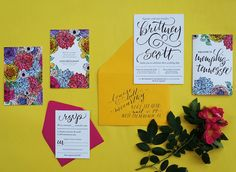 Modern Hand Lettered Wedding Invitations by And Here We Are / Oh So Beautiful Paper