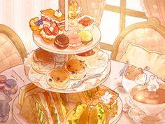 Cute Food Drawings, Cute Animal Drawings, Kawaii Drawings, Cute Food Art, Cute Art, Aesthetic Food, Aesthetic Anime, Food Illustrations, Illustration Art