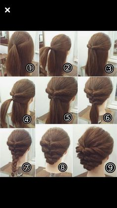 Shows a how-to on a particular hairstyle using braids. Would be beautiful as a wedding 'do' for a woman with long hair.