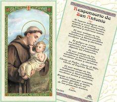 Paper Prayer Card cents each. Sold in packs of Oracion A Santa Rita, Oracion A San Antonio, Catholic Store, Prayer Cards, St Patrick, The Creator, Baseball Cards, Sayings, Paper