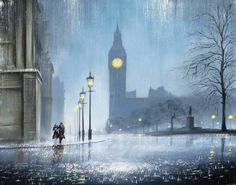 Jeff Rowland Artist- Painter of Rain - Our Patch Of Pavement. Nocturne, Pop Art Studio, English Artists, Art Studies, Vincent Van Gogh, Beautiful Paintings, Figurative Art, Art Google, Art Forms