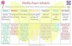 Weekly Prayer Schedule - I use one and it really takes your prayer life to a deeper level if prayer didn't come easy to you.