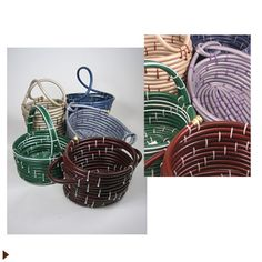 Baskets made from old hoses and zip ties; great idea!