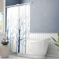 Ebern Designs This Shower Curtain motif is reminiscent of changing seasons. It trees with detailed branch design and tiny birds that paint instant artwork for your bathroom. Two Shower Curtains, Shower Curtain Hooks, Shower Liner, Shower Rod, Restroom Design, Curtain Material, Colorful Curtains, Rustic Wall Decor, Window Coverings
