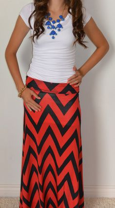 Chevron Is The New Black Maxi Skirt