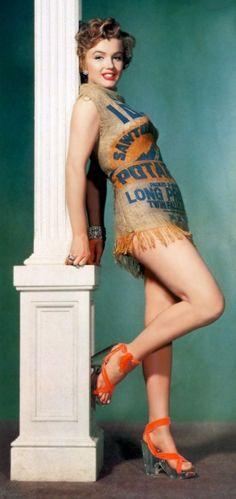 "Marilyn Monroe in ""the potato sack dress"""