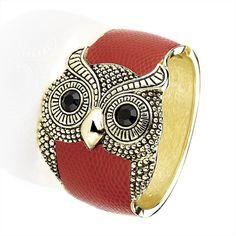Antique Gold Effect Owl Hinge Bangle
