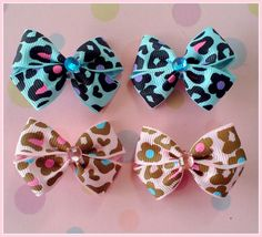Leopard Flowers Bitsy Bows 2 pairs by Flowers4Emily on Etsy