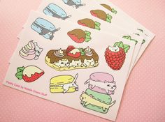 French Pastry Cats vinyl sticker sheet macaron cat cat by ShopNDS