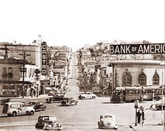 San Francisco - View down Castro Street from Market showing the Castro Theater and the Bank of America on the corner.