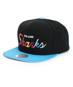 NHL Mitchell and Ness Tie Dye Script Sharks Snapback Hat 0e544f15b279