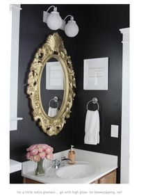 really want to do a dark bathroom with white accents