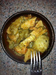Tapa de pavo con verduras al curry