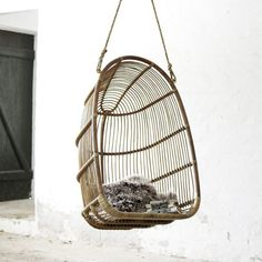 The Renoir rattan swing chair is both cozy and airy, creating an idyllic spot for relaxation. The hanging chair is handcrafted from natural rattan and built to last. Hanging Swing Chair, Hammock Chair, Swinging Chair, Diy Chair, Swing Chairs, Hanging Chairs, Hanging Basket, Lounge Chairs, Renoir